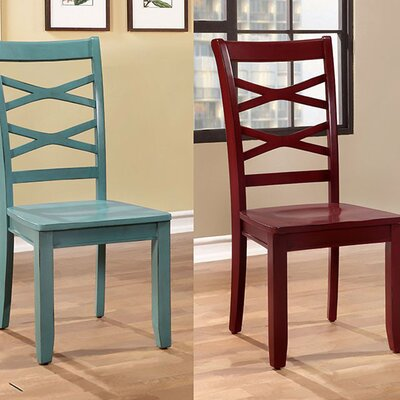 Channa Transitional Dining Chair Color: Red and Blue