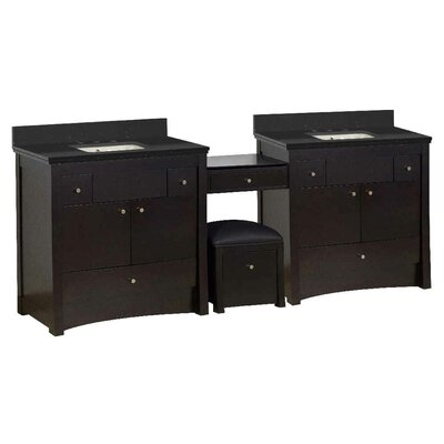 Vangundy 93 Double Bathroom Vanity Set Top Finish: Black Galaxy, Sink Finish: Biscuit, Faucet Mount: 8 Centers