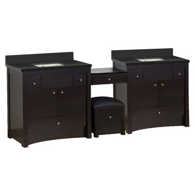 Vangundy 93 Double Bathroom Vanity Set Top Finish: Black Galaxy, Sink Finish: Biscuit, Faucet Mount: Single Hole