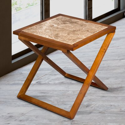 Sturm X Design Top End Table Table Base Color: Light Brown, Table Top Color: Biege