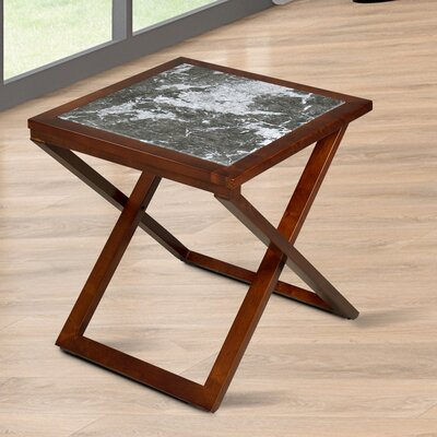 Sturm X Design Top End Table Table Base Color: Brown, Table Top Color: Gray