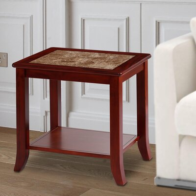 Sturgill Marble Top End Table Table Base Color: Brown, Table Top Color: Biege