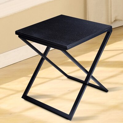 Sturgis Marble Top End Table Table Top Color: Black