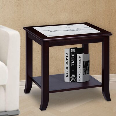 Sturgill Marble Top End Table Table Base Color: Espresso, Table Top Color: White