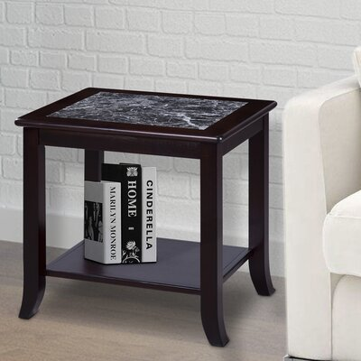 Sturgill Marble Top End Table Table Base Color: Espresso, Table Top Color: Gray