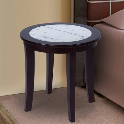Sturgeon Marble Top End Table Table Base Color: Black, Table Top Color: White