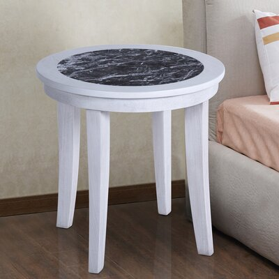 Sturgeon Marble Top End Table Table Base Color: White, Table Top Color: Black