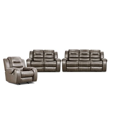 Daigre 3 Piece Living Room Set Upholstery: Gray