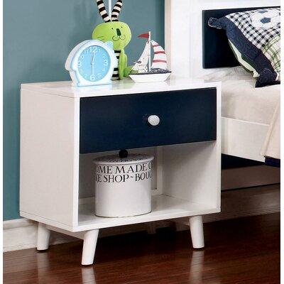 Sea Dog 1 Drawer Nightstand Color: Blue/White