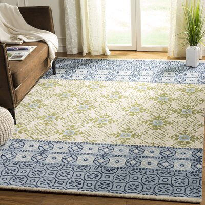Hodgson Hand-Tufted Ivory/Blue Area Rug Rug Size: Rectangle 6 x 9