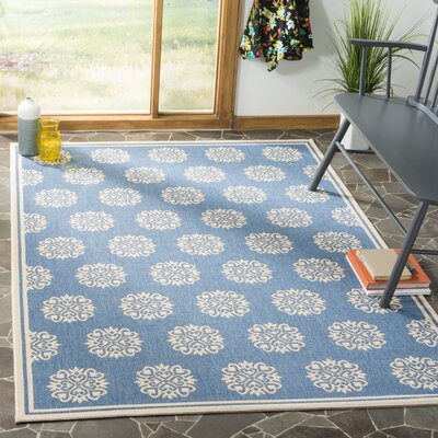 Ferrill Cream/Blue Area Rug Rug Size: Square 67