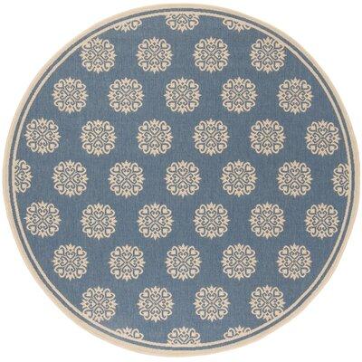Ferrill Cream/Blue Area Rug Rug Size: Round 67