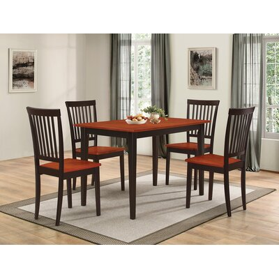 Holcomb 5 Piece Dining Set Color: Tobnaco Black