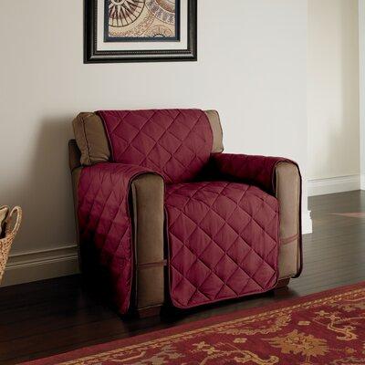 Duvig Box Cushion Armchair Slipcover Color: Burgundy