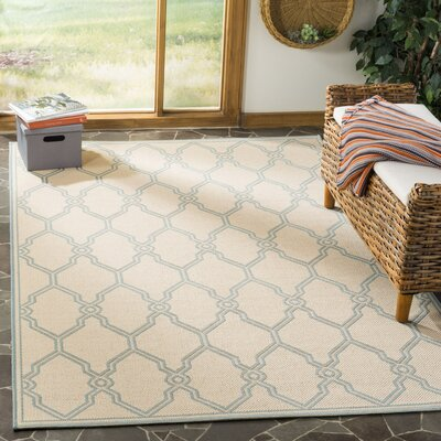 Ferrill Cream/Aqua Area Rug Rug Size: Rectangle 9 x 12