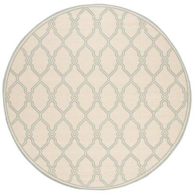 Ferrill Cream/Aqua Area Rug Rug Size: Round 67