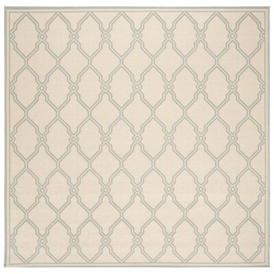 Ferrill Cream/Aqua Area Rug Rug Size: Square 67