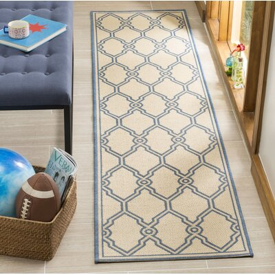 Croker Cream/Blue Area Rug Rug Size: Runner 2 x 8