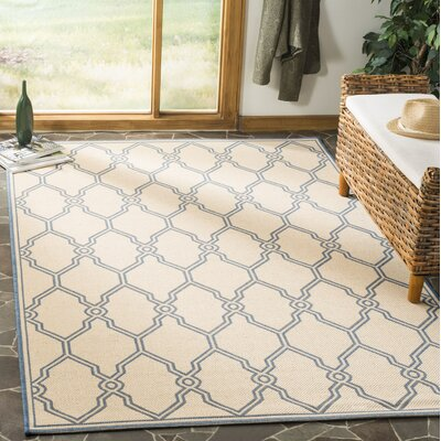 Croker Cream/Blue Area Rug Rug Size: Rectangle 51 x 76