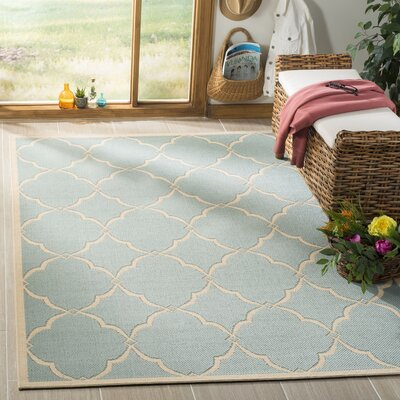 Miesha Aqua/Cream Area Rug Rug Size: Rectangle 51 x 76