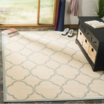 Miesha Cream/Aqua Area Rug Rug Size: Rectangle 9 x 12