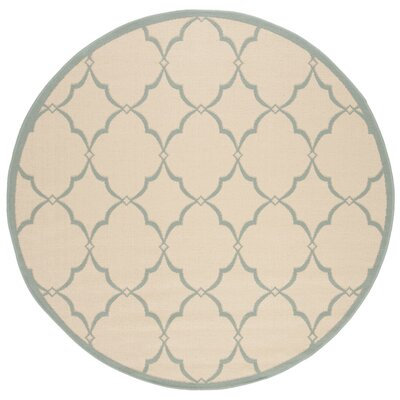Miesha Cream/Aqua Area Rug Rug Size: Round 67