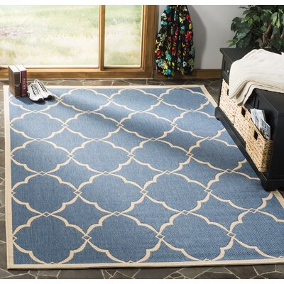 Croker Blue/Cream Area Rug Rug Size: Rectangle 9 x 12