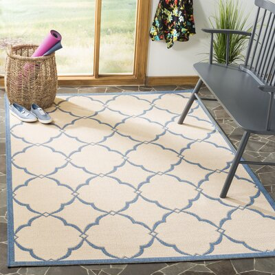 Croker Cream/Blue Area Rug Rug Size: Rectangle 9 x 12