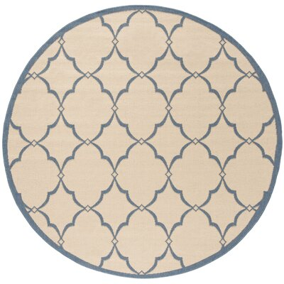 Croker Cream/Blue Area Rug Rug Size: Round 67