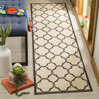 Croker Cream/Brown Area Rug Rug Size: Runner 2 x 8