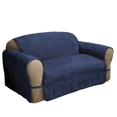 Box Cushion Armchair Slipcover Size: 98.5 H x 164 W, Upholstery: Navy Blue