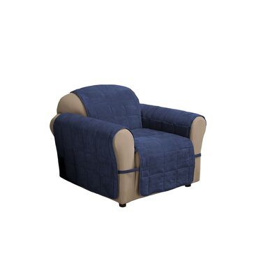 Duvig Armchair Box Cushion Slipcover Upholstery: Navy Blue