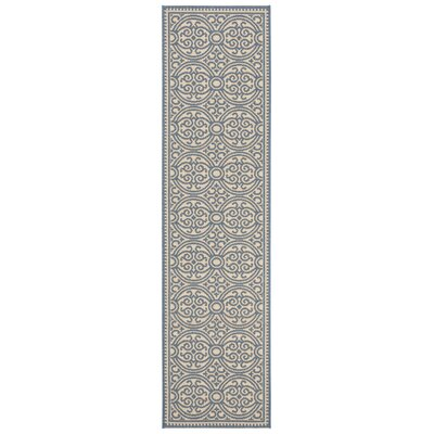 Ferrill Blue/Cream Area Rug Rug Size: Runner 2 x 8