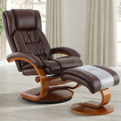 Flathead Lake Manual Swivel Recliner with Ottoman Upholstery Color: Brown