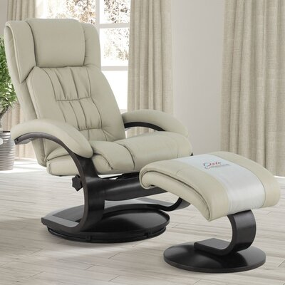 Flathead Lake Manual Swivel Recliner with Ottoman Upholstery Color: Beige