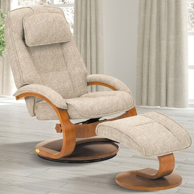 Flathead Lake Teatro Manual Swivel Recliner With Ottoman Upholstery: Tan