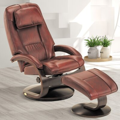 Flathead Lake Leather Manual Swivel Recliner with Ottoman Color: Merlot