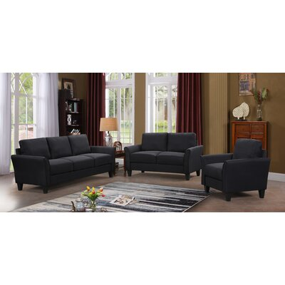 Galvez 3 Piece Living Room Set Upholstery: Black