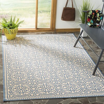 Ferrill Blue/Cream Area Rug Rug Size: Rectangle 4 x 6
