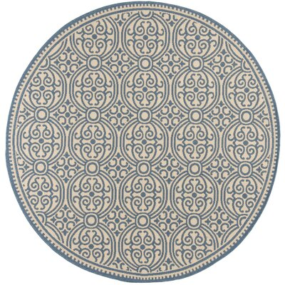 Ferrill Blue/Cream Area Rug Rug Size: Round 67