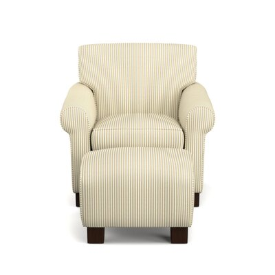 Raven Armchair and Ottoman Upholstery: Cream and Sand Stripe