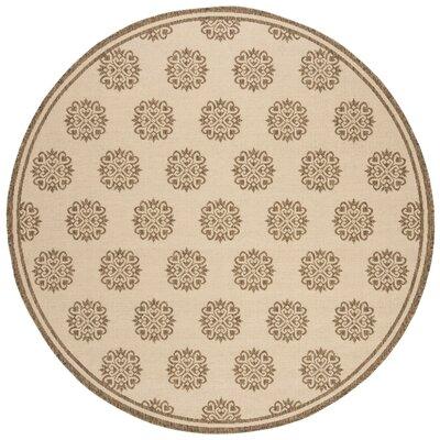 Miesha Cream/Beige Area Rug Rug Size: Round 67