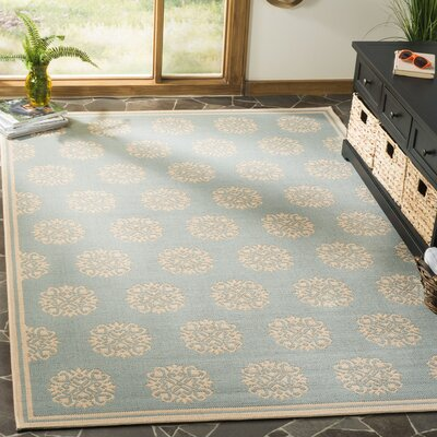 Miesha Aqua/Cream Area Rug Rug Size: Rectangle 4 x 6