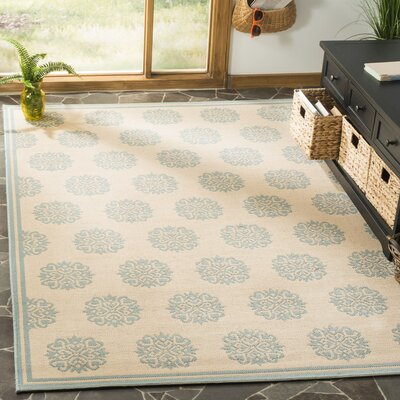 Miesha Cream/Aqua Area Rug Rug Size: Rectangle 51 x 76