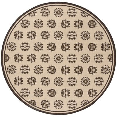 Croker Cream/Brown Area Rug Rug Size: Round 67