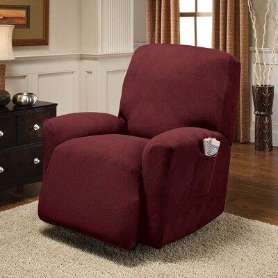 Levine Box Cushion Recliner Slipcover Upholstery: Burgundy