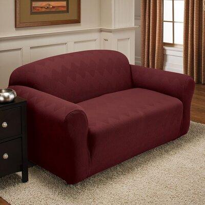Levine Box Cushion Loveseat Slipcover Upholstery: Burgundy