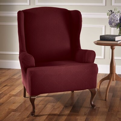 Levine T-Cushion Wingback Slipcover Upholstery: Burgundy