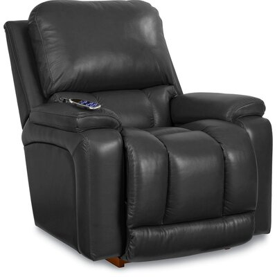 Greyson Leather Rocker Recliner Upholstery: Black, Reclining Type: Power-Remote-Headrest & Lumbar