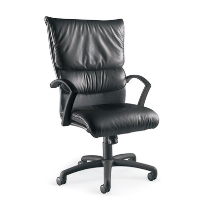 La-Z-Boy Carrara High-Back Leather Executive Chair - Upholstery: Cashmere - Ebony, Base: Standard Black Polymer
